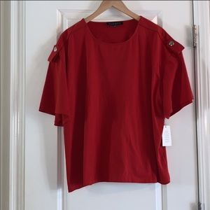 NWT!short sleeve top with button accent